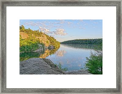 Water, Clouds And Blue Framed Print