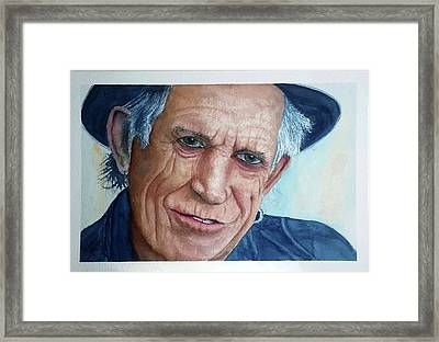 Water Color Keith Richards Framed Print