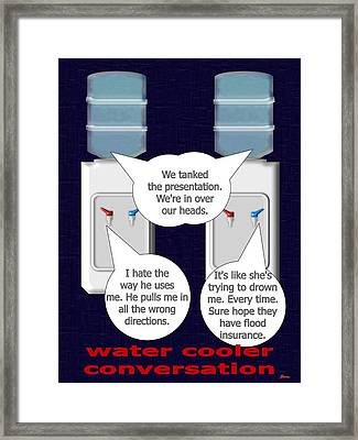 Water Cooler Conversation They Commiserate Framed Print