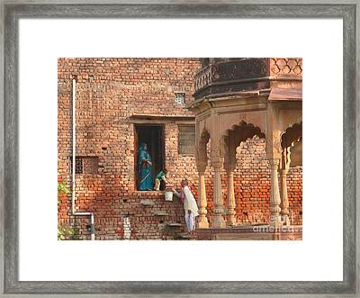 Framed Print featuring the photograph Water Delivery In Vrindavan by Jean luc Comperat