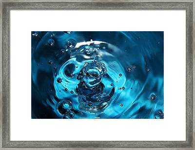 Water Drop In Blue Framed Print