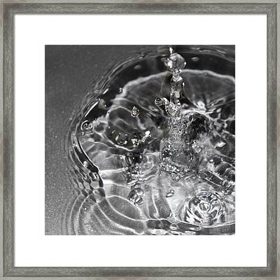Water Drop In Gray Framed Print by Christy Patino