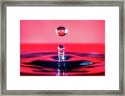 Water Drop In Red Framed Print