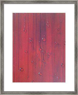 Water Drops On Red Framed Print