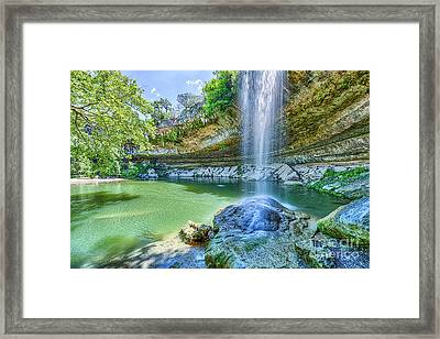 Water Fall At Hamilton Pool Framed Print by Tod and Cynthia Grubbs