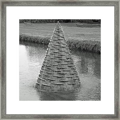 Water Feature Sculpture Monochrome Framed Print by Jeff Townsend