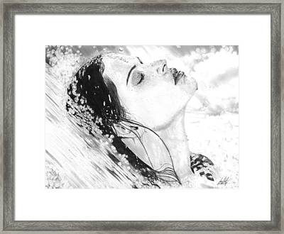 Water Flowing Over Woman Drawing Framed Print