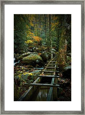 Water Flume In Autumn By The Roaring Fork Stream At Alfred Reagan's Tub Mill Framed Print by Randall Nyhof