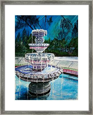 Water Fountain Acrylic Painting Art Print Framed Print by Derek Mccrea