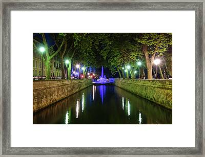 Framed Print featuring the photograph Water Fountain At Night by Scott Carruthers