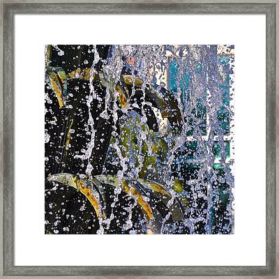 Water Fountain Blue Charleston Sc Framed Print by Lori Kesten