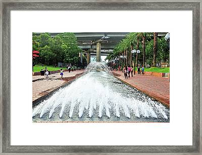 Water Fountain Darling Harbour By Kaye Menner Framed Print by Kaye Menner