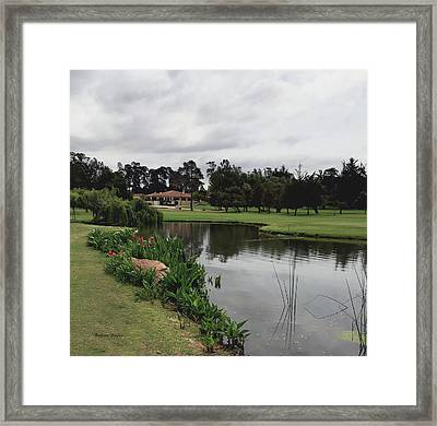 Water Hazard At Number Five Santa Maria Country Club Framed Print by Barbara Snyder