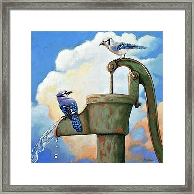 Water Is Life #3 -blue Jays On Water Pump Painting Framed Print