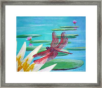 Water Lilies And Dragonfly Framed Print by Susan Kubes