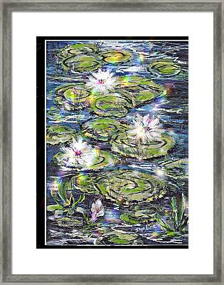 Water Lilies And Rainbows Framed Print
