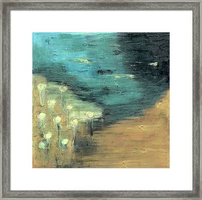 Framed Print featuring the painting Water Lilies At The Pond by Michal Mitak Mahgerefteh