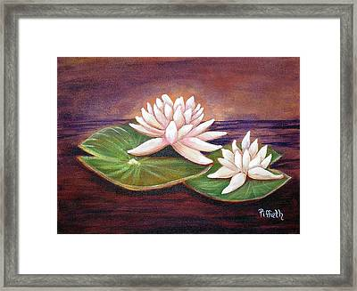 Framed Print featuring the painting Water Lilies by Patricia Piffath
