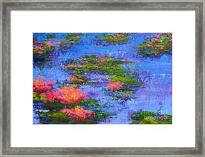 Waterlilies Lily Pads - Modern Impressionist Landscape Palette Knife Work Framed Print
