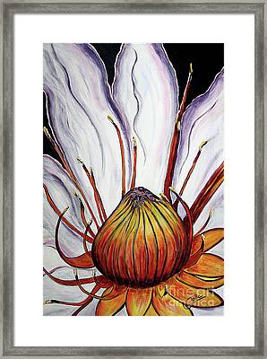 Framed Print featuring the painting Water Lilly  by Jolanta Anna Karolska