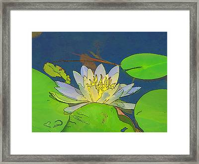 Framed Print featuring the digital art Water Lily by Maciek Froncisz