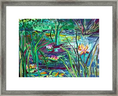 Water Lily Pond Framed Print by Mindy Newman