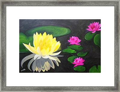 Water Lily Pond  Framed Print by Una  Miller