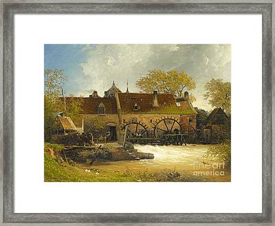 Water-mill At A River Framed Print