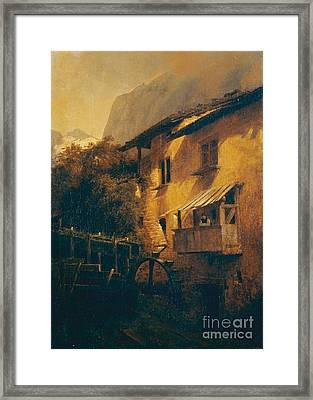 Water Mill In The Mountains Framed Print