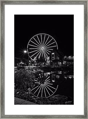 Water Moonshine And A Big Wheel In Black And White Framed Print