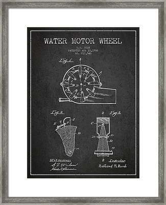 Water Motor Wheel Patent From 1906 - Charcoal Framed Print by Aged Pixel