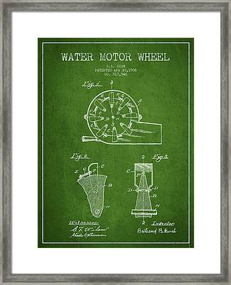 Water Motor Wheel Patent From 1906 - Green Framed Print by Aged Pixel