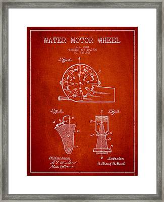 Water Motor Wheel Patent From 1906 - Red Framed Print by Aged Pixel