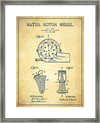 Water Motor Wheel Patent From 1906 - Vintage Framed Print by Aged Pixel
