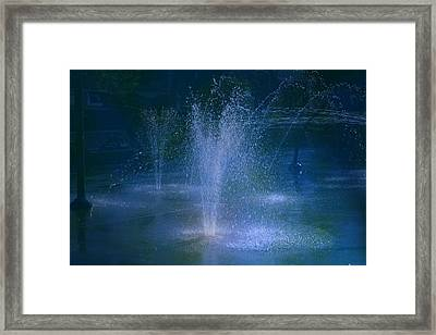 Water Park At Night Framed Print by Brenda Myers