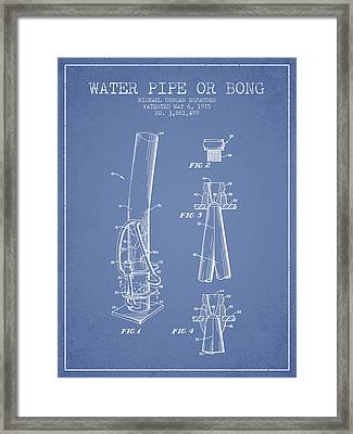 Water Pipe Or Bong Patent 1975 - Light Blue Framed Print by Aged Pixel