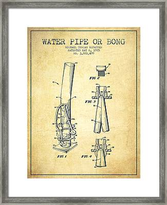 Water Pipe Or Bong Patent 1975 - Vintage Framed Print by Aged Pixel
