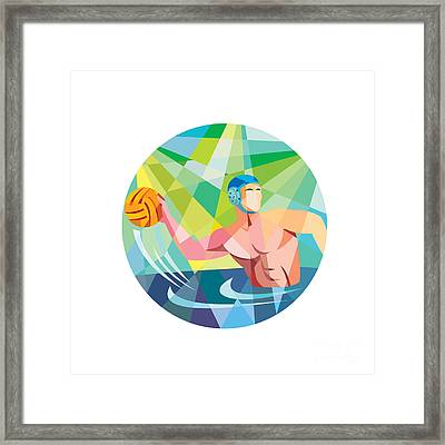 Water Polo Player Throw Ball Circle Low Polygon Framed Print