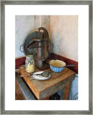 Water Pump In Kitchen Framed Print by Susan Savad