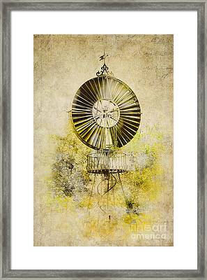Framed Print featuring the photograph Water-pumping Windmill by Heiko Koehrer-Wagner