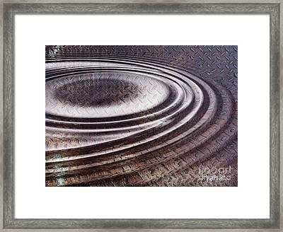 Framed Print featuring the digital art Water Ripple On Rusty Steel Plate  by Michal Boubin