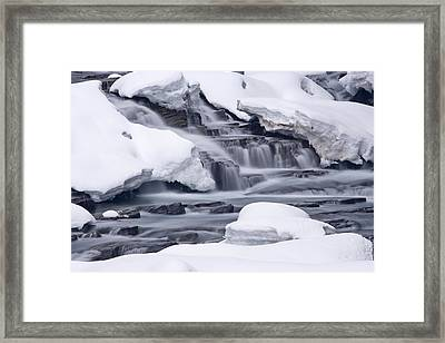 Water Rushing In Small Waterfalls Framed Print