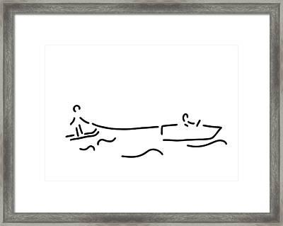 Water-ski Boat Waterski Framed Print by Lineamentum