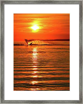 Water Skiing At Sunrise  Framed Print