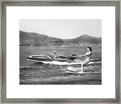Water Skiing In Acapulco Framed Print by Underwood Archives