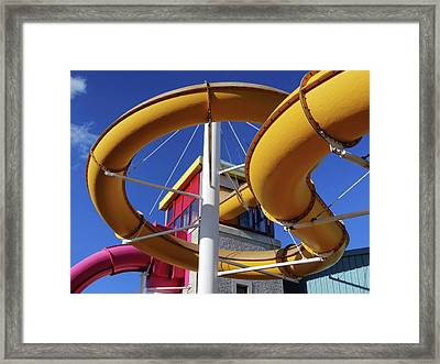 Water Slides At Bundoran Waterworld - Abstract, Bright Primary Colours Against A Deep Blue Sky Framed Print