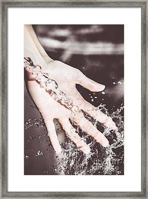 Water Splash Pouring From Woman's Hands Framed Print by Jorgo Photography - Wall Art Gallery