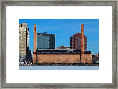 Framed Print featuring the photograph Water Street Steam Plant In Winter by Michiale Schneider