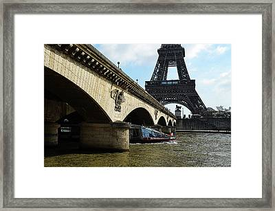 Water Taxi Boat Under Pont D'lena Bridge With Eiffel Tower Paris France Poster Edges Digital Art Framed Print by Shawn O'Brien