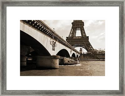 Water Taxi Boat Under Pont D'lena Bridge With Eiffel Tower Paris France Sepia Framed Print